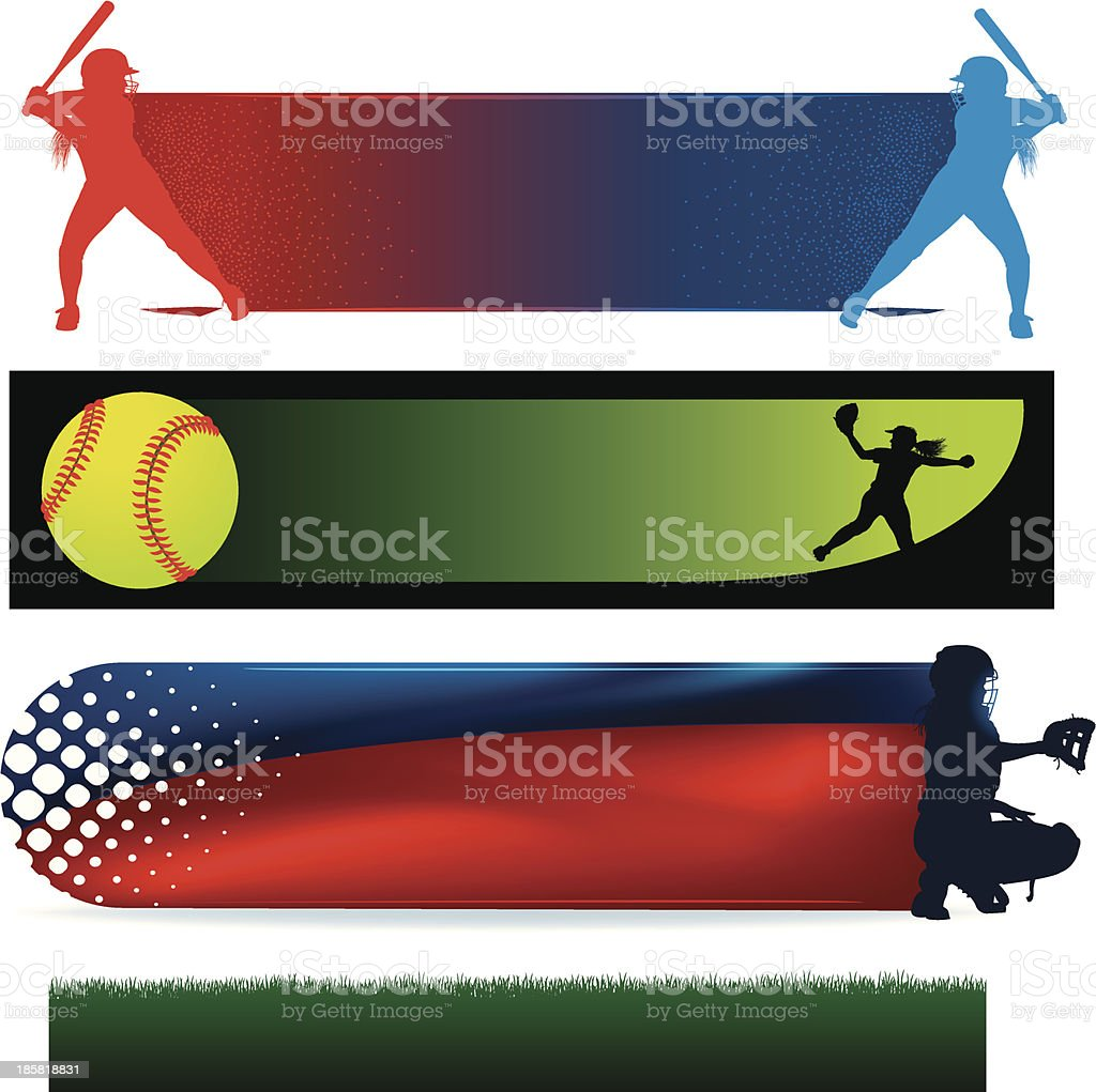 Girls Softball Icons, Pitcher Catcher, Batter, Ball royalty-free stock vector art
