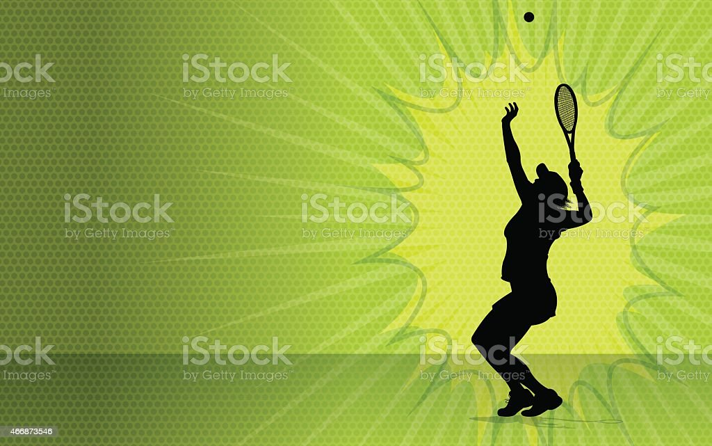 Girls Tennis Burst Background vector art illustration