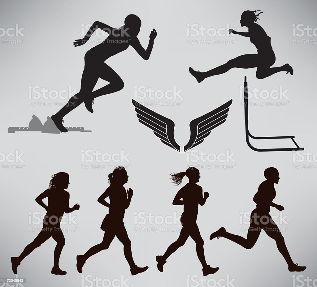 Girls Track and Field Events royalty-free stock vector art