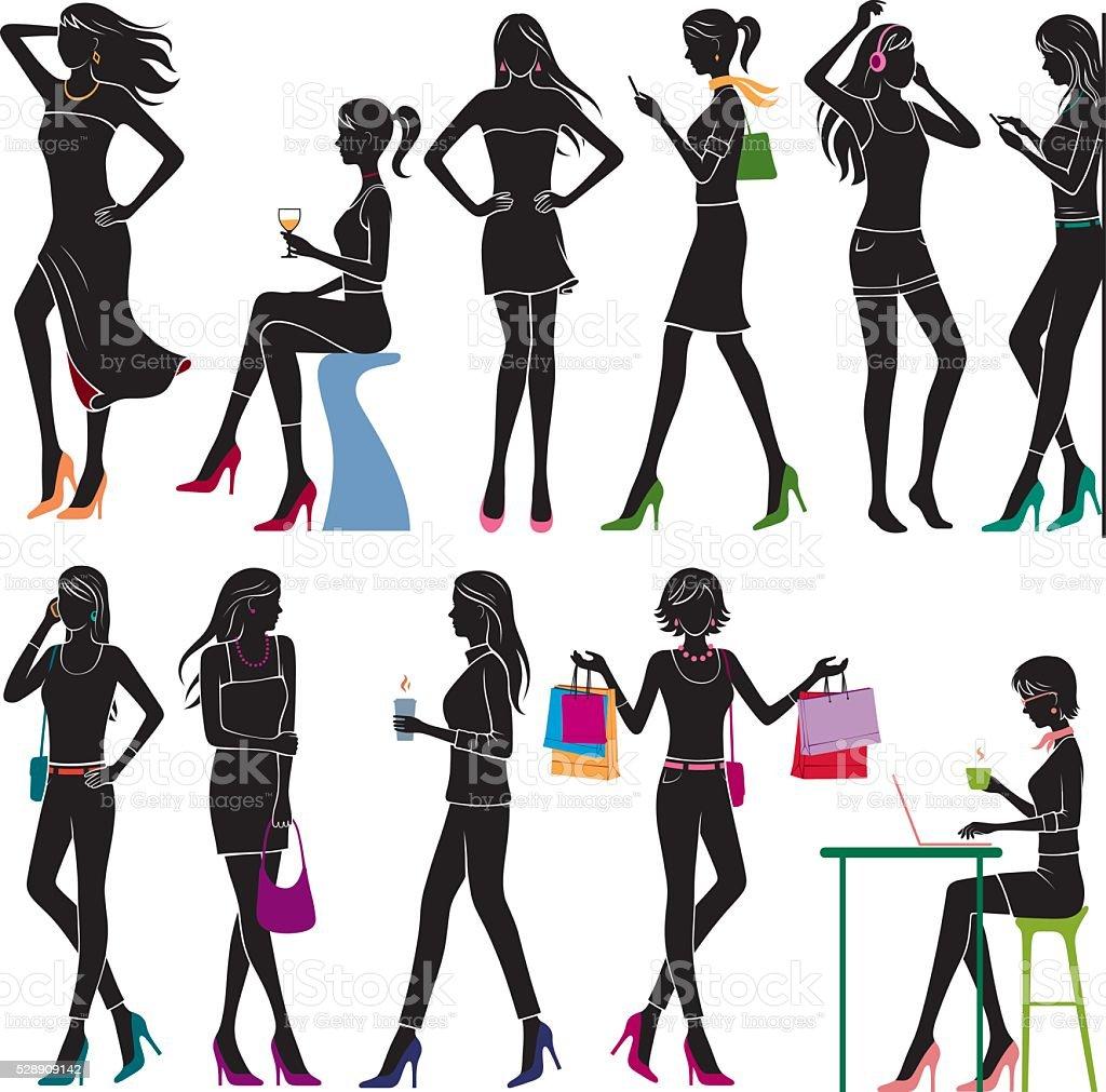 Girls vector art illustration