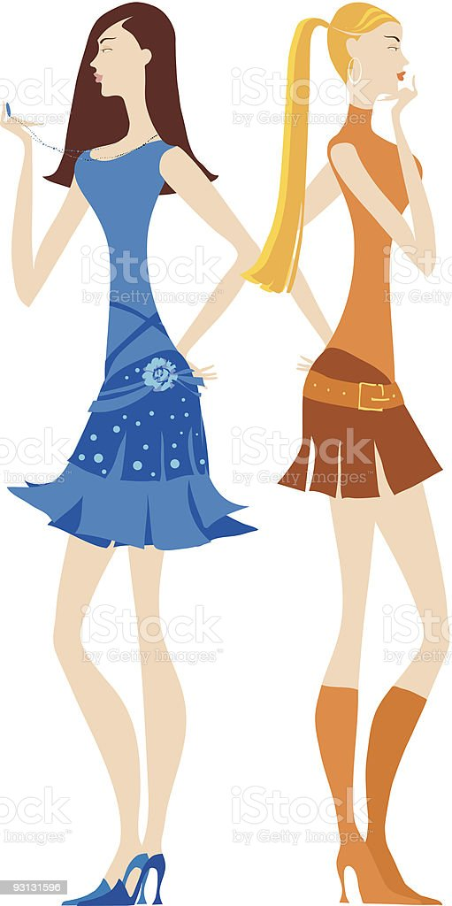 Girls waiting vector art illustration
