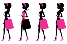 Girls walking with shopping bags vector art illustration