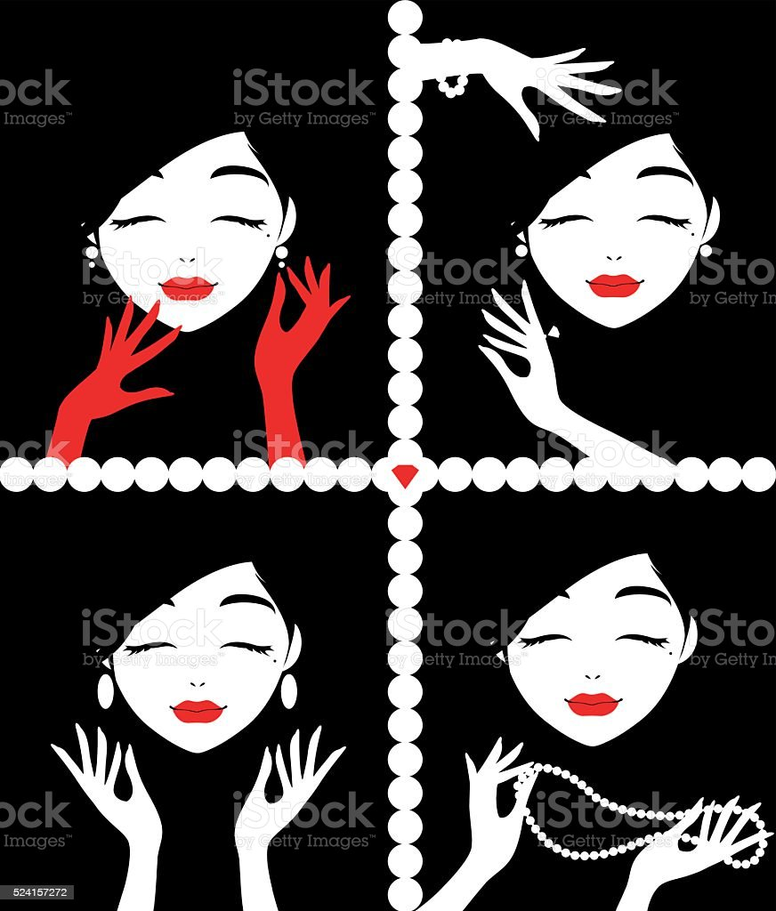Girls with a Pearl Earrings vector art illustration