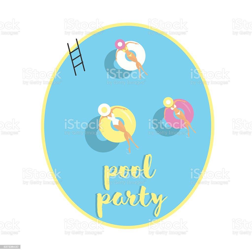 Girls with lifebuoy floating on water, vector illustration vector art illustration