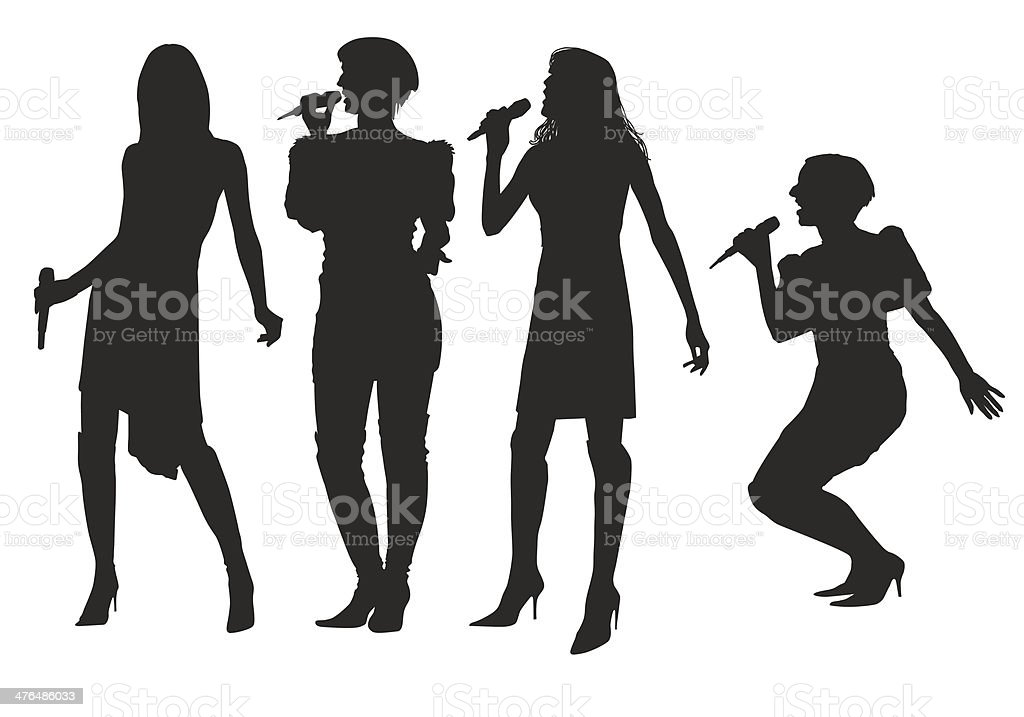 Girls with microphone vector art illustration