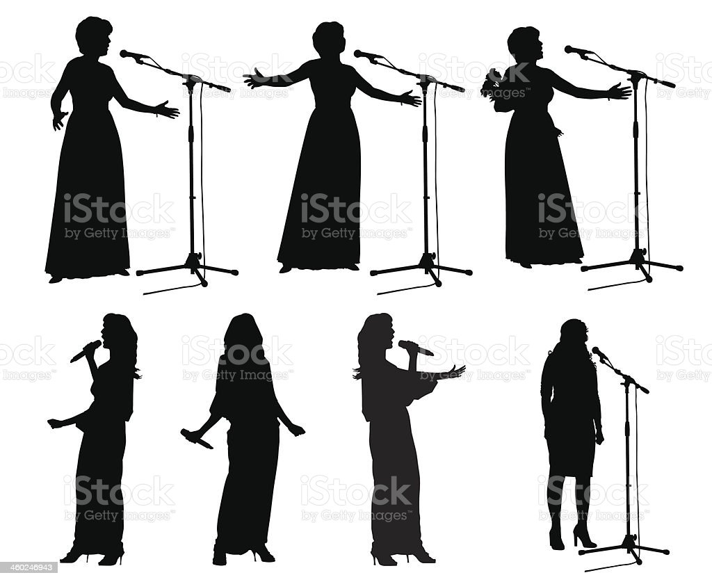 Girls with microphone_2 vector art illustration