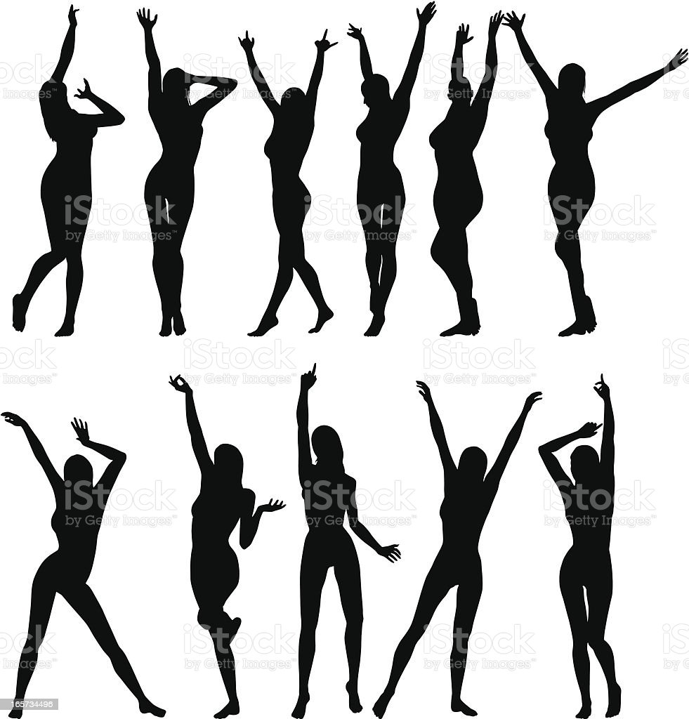 Girls with raised arms vector art illustration