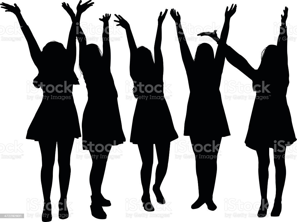 Girls with their Arms in the Air vector art illustration