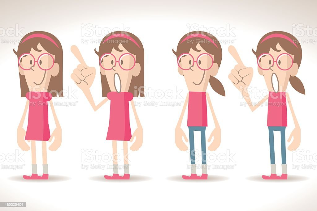 Girls with two positions, smiling, talking, pointing with index finger. vector art illustration