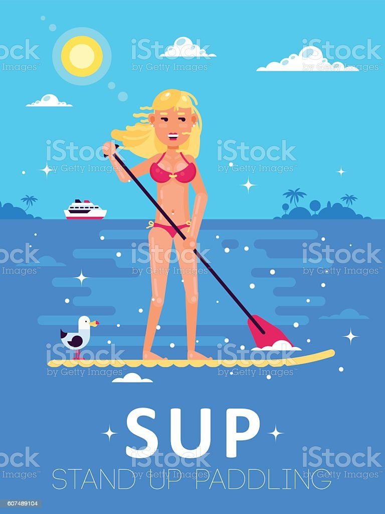 Girl-Standup-Paddle vector art illustration