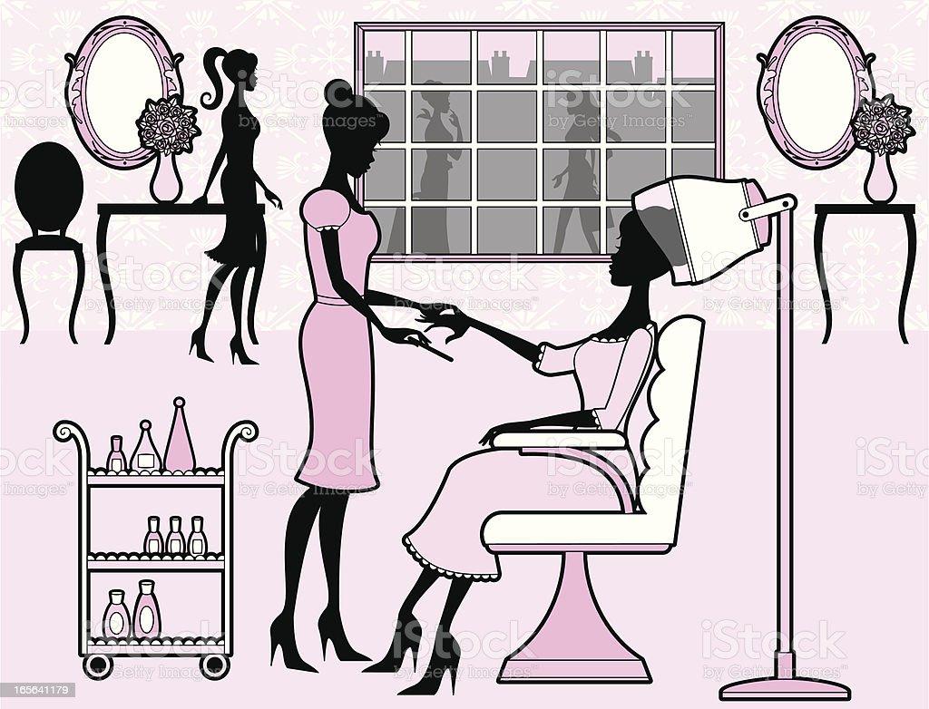 Girly Beauty Salon vector art illustration