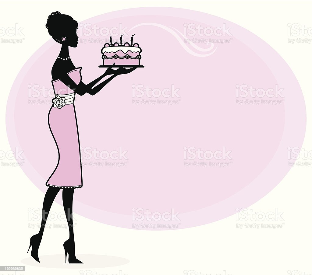 Girly Birthday Cake vector art illustration
