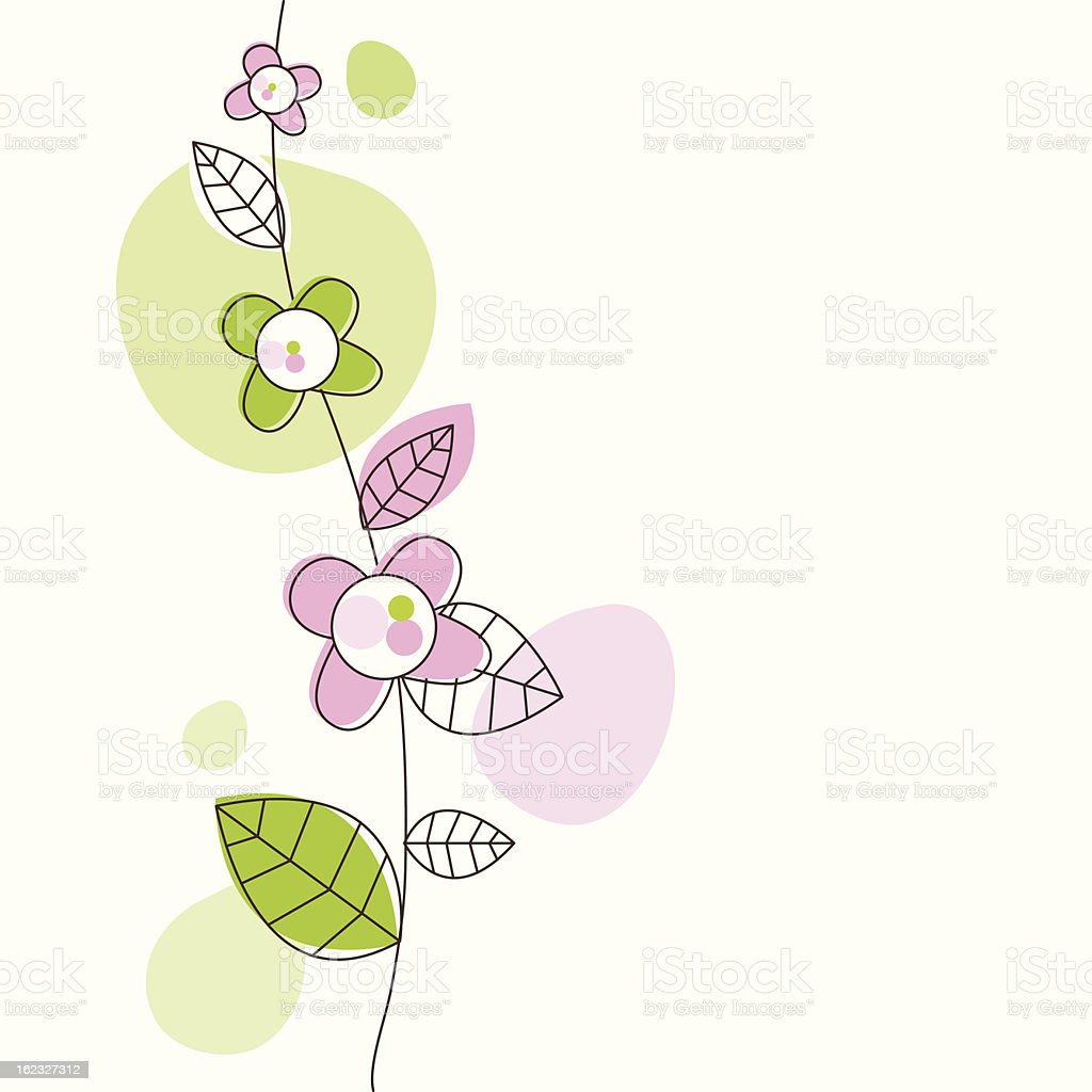 Girly birthday card with flower doodle and writing space royalty-free stock vector art