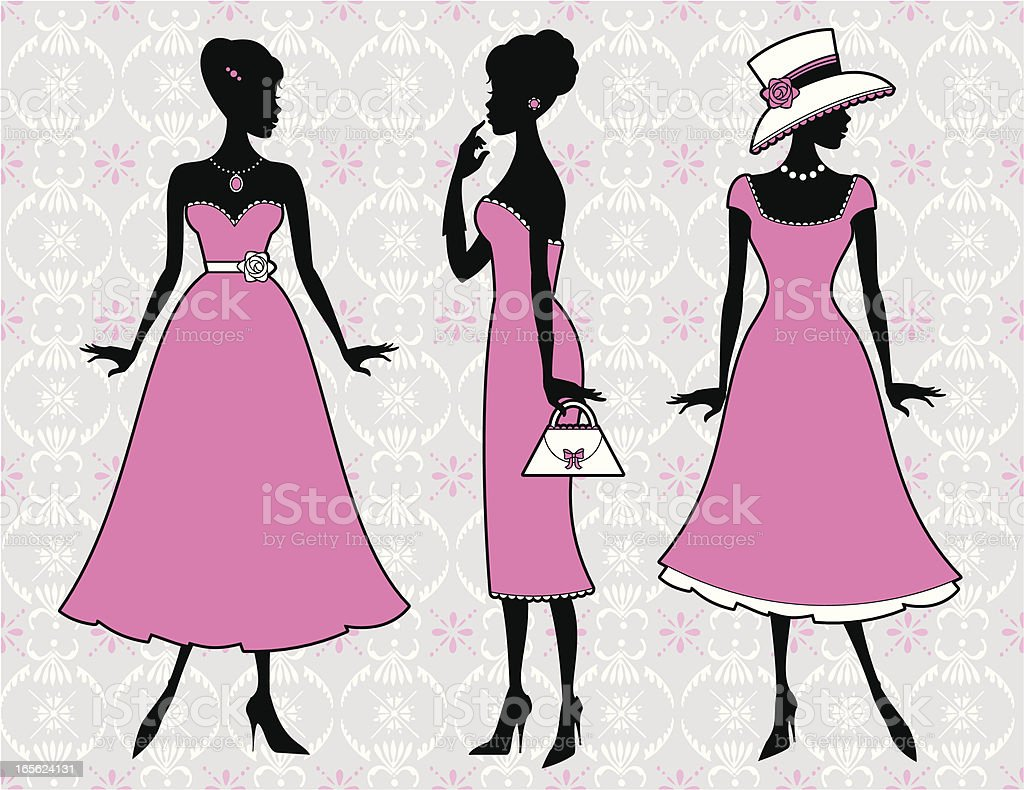 Girly Dresses royalty-free stock vector art