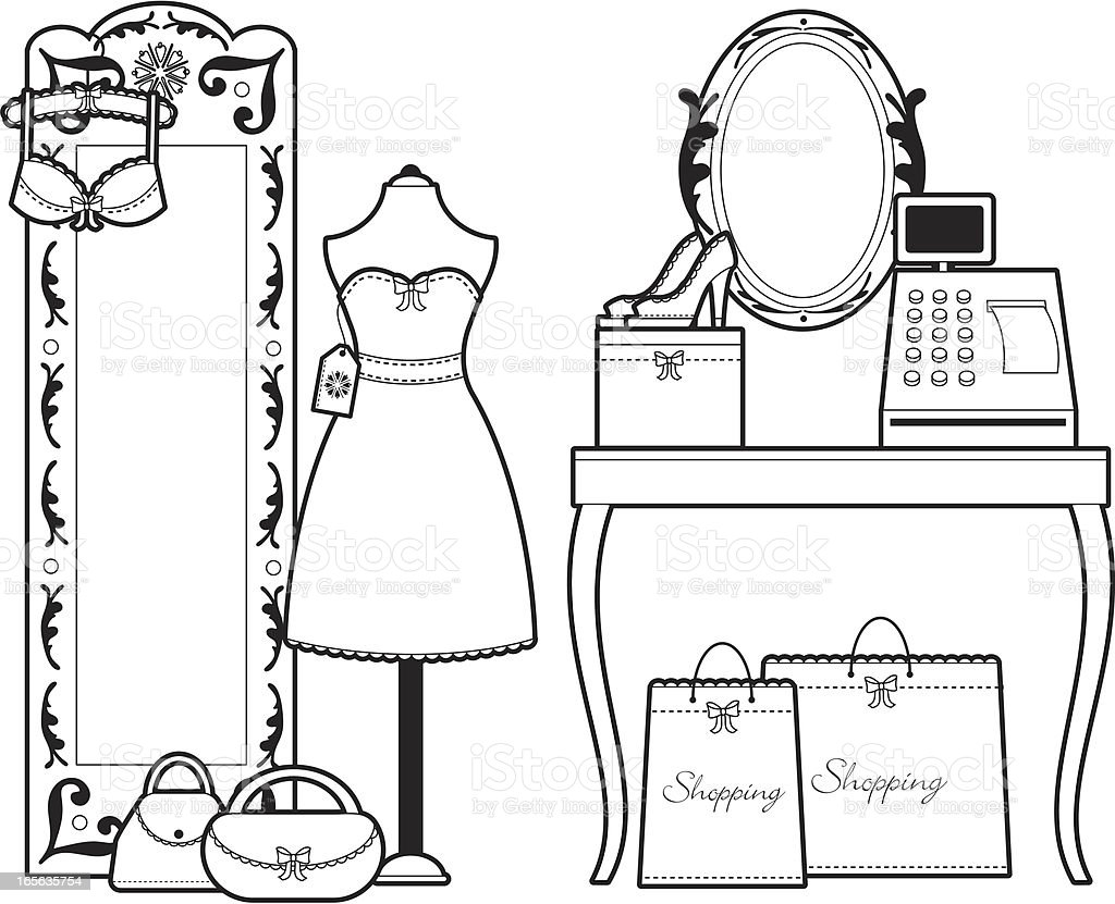 B/W Girly Fashion Boutique royalty-free stock vector art