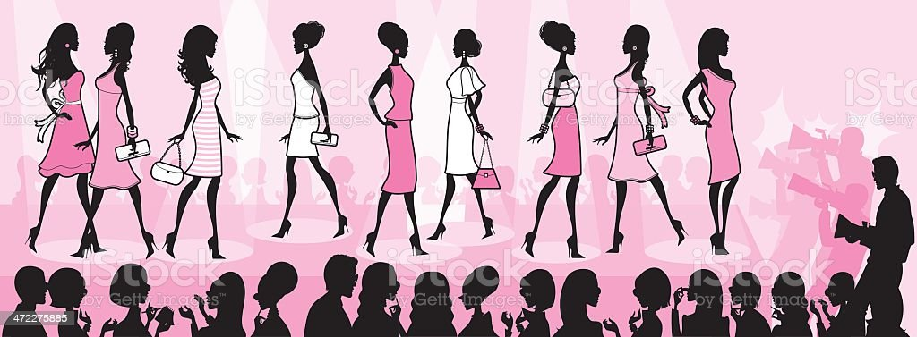 Girly Fashion Show vector art illustration