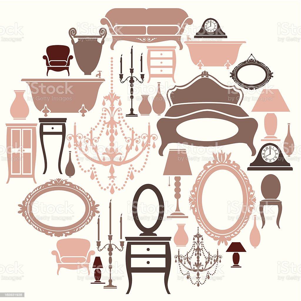 Girly Furniture Set vector art illustration