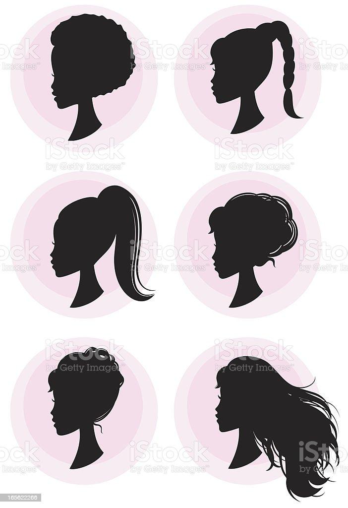 Girly Hairstyles vector art illustration