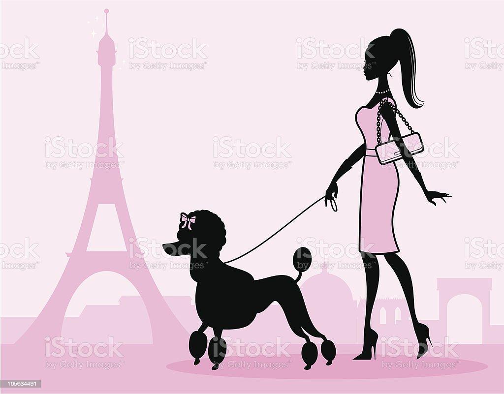 Paris Girl Walking Dog In Pink Dress Drawing