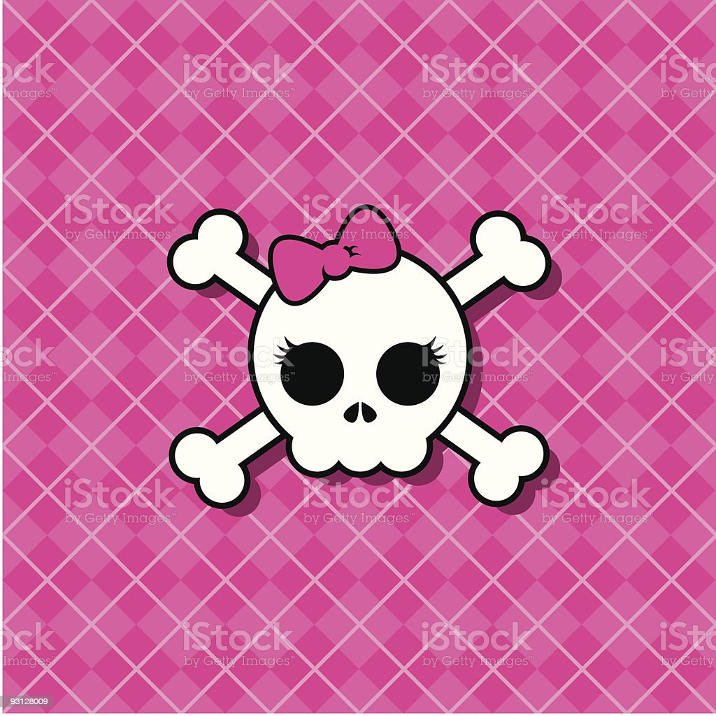 Girly Punk Skull vector art illustration