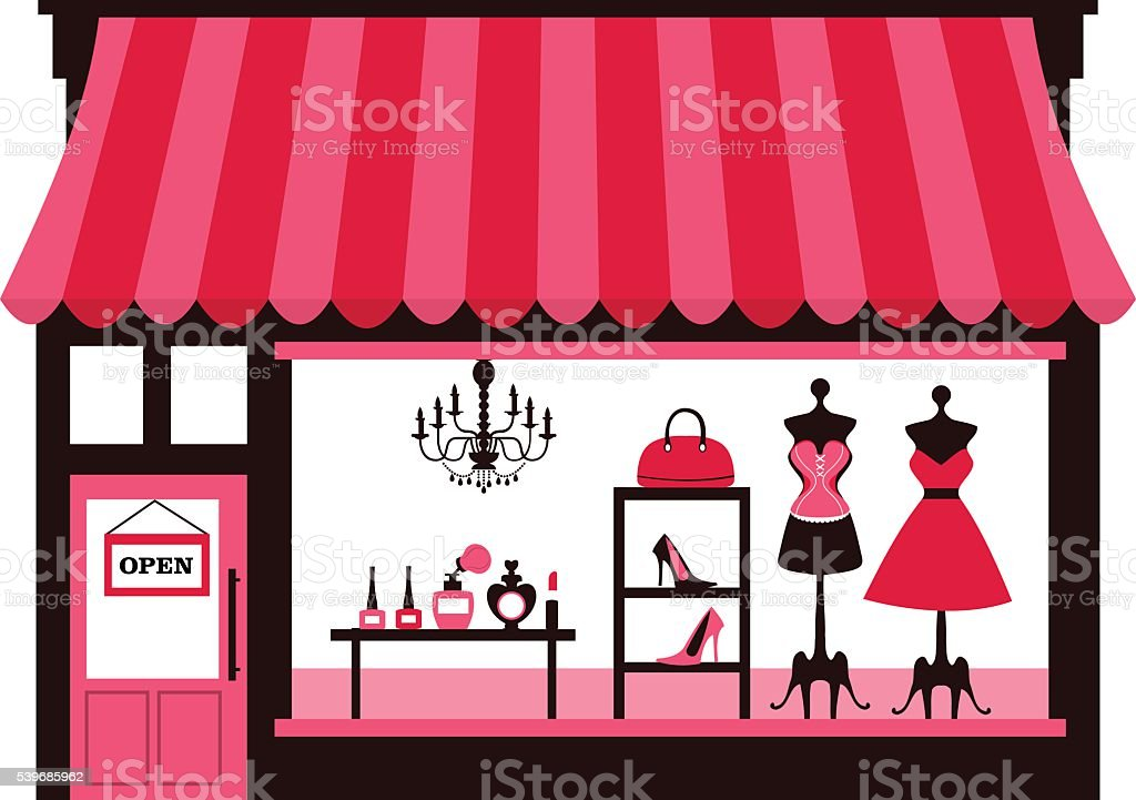 Girly Shopfront vector art illustration