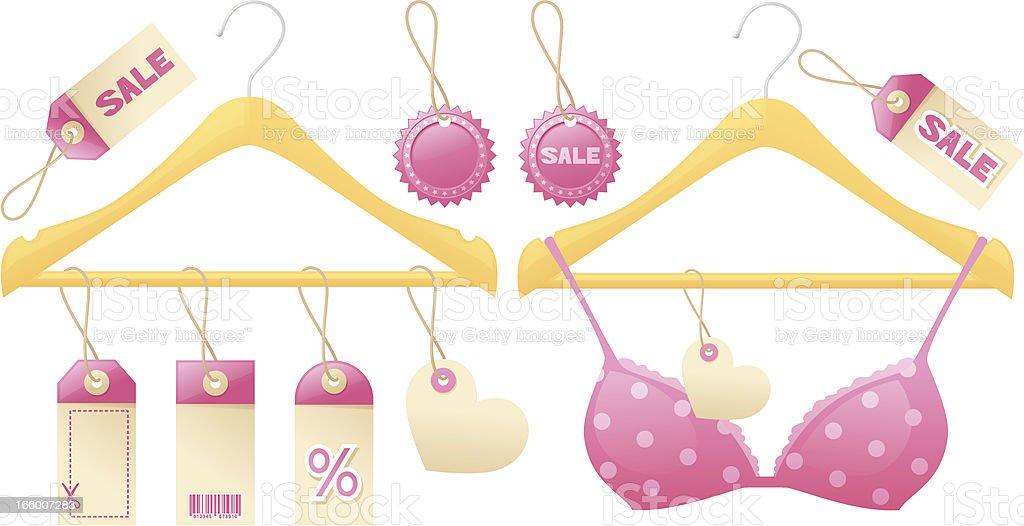 Girly Shopping Hangers vector art illustration