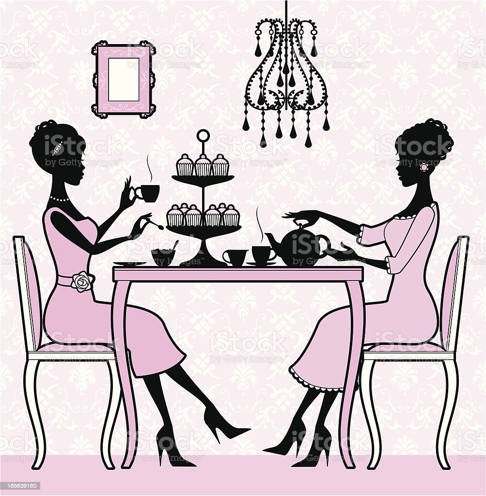 Girly Tea Time royalty-free stock vector art