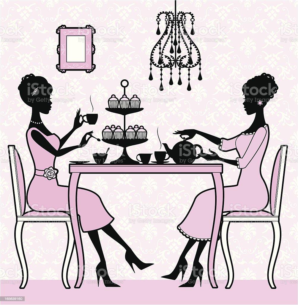 Girly Tea Time vector art illustration