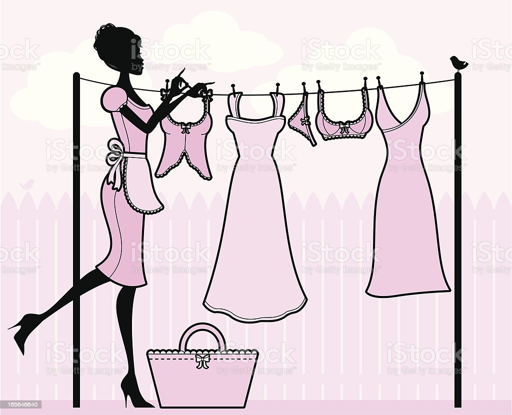 Girly Washing Line royalty-free stock vector art