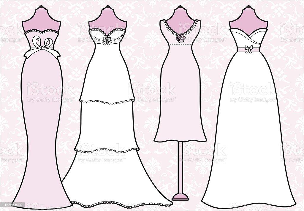 Girly Wedding Dresses royalty-free stock vector art