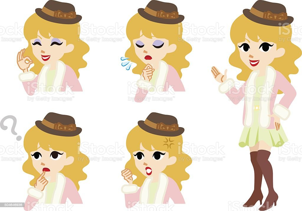 Girly winter fashioned women full length and Facial expression set vector art illustration