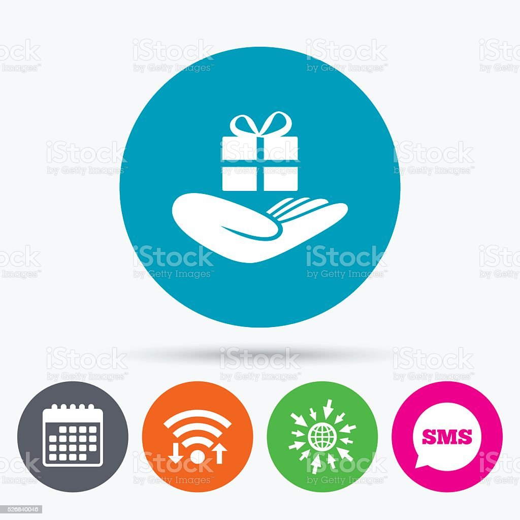 Give a gift sign. Hand holds present box. vector art illustration