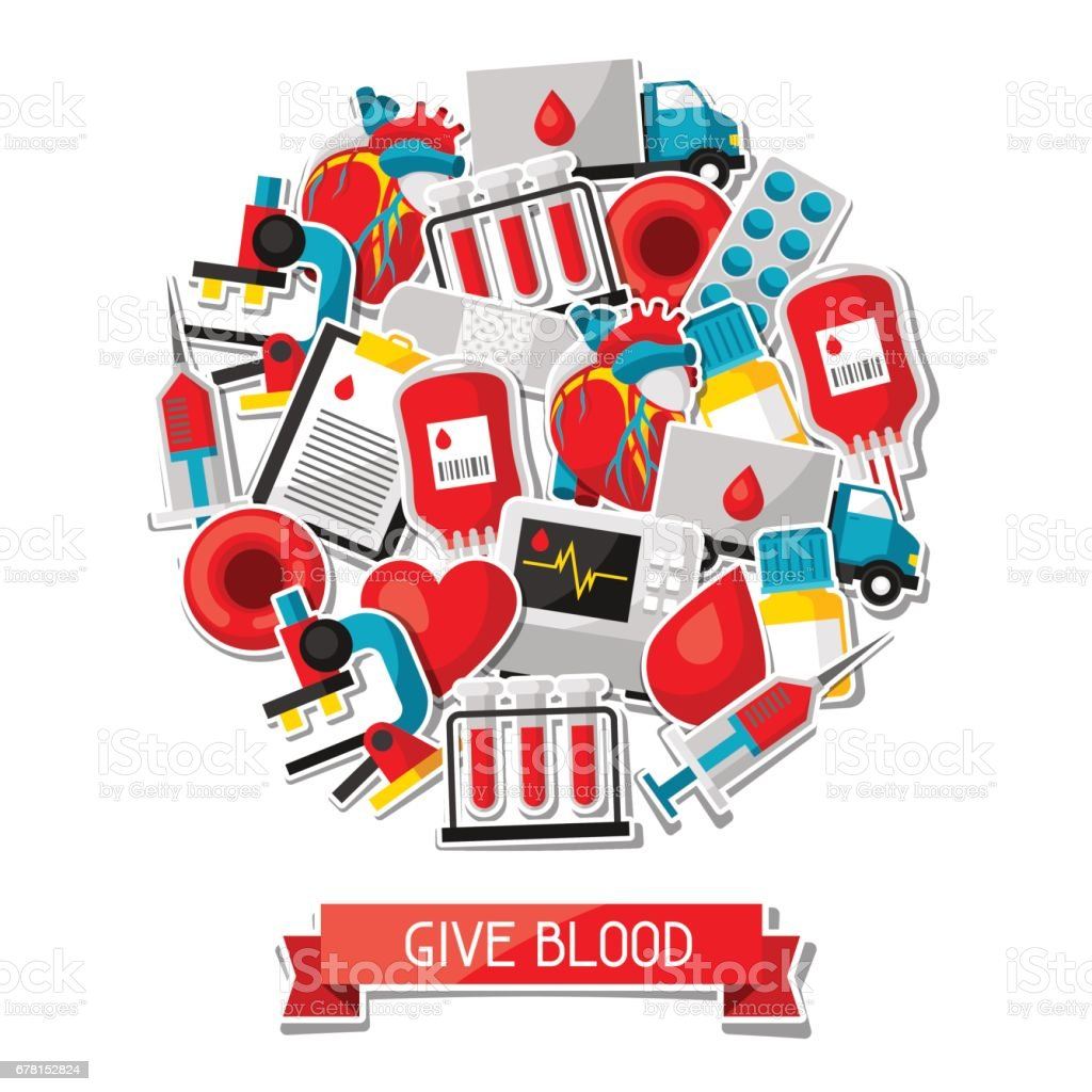 Give blood. Background with blood donation items. Medical and health care sticker objects vector art illustration