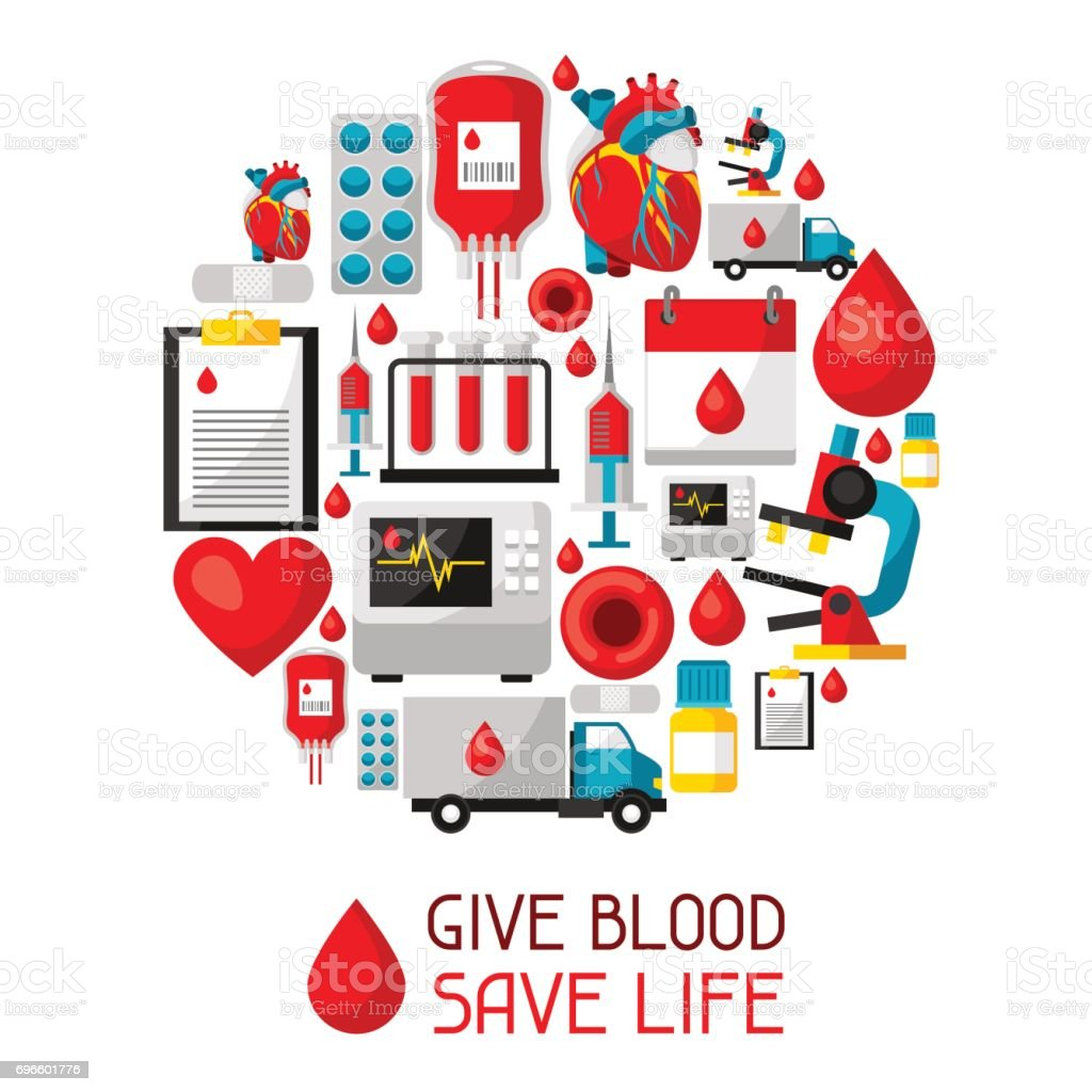 Give blood save life. Background with blood donation items. Medical and health care objects vector art illustration