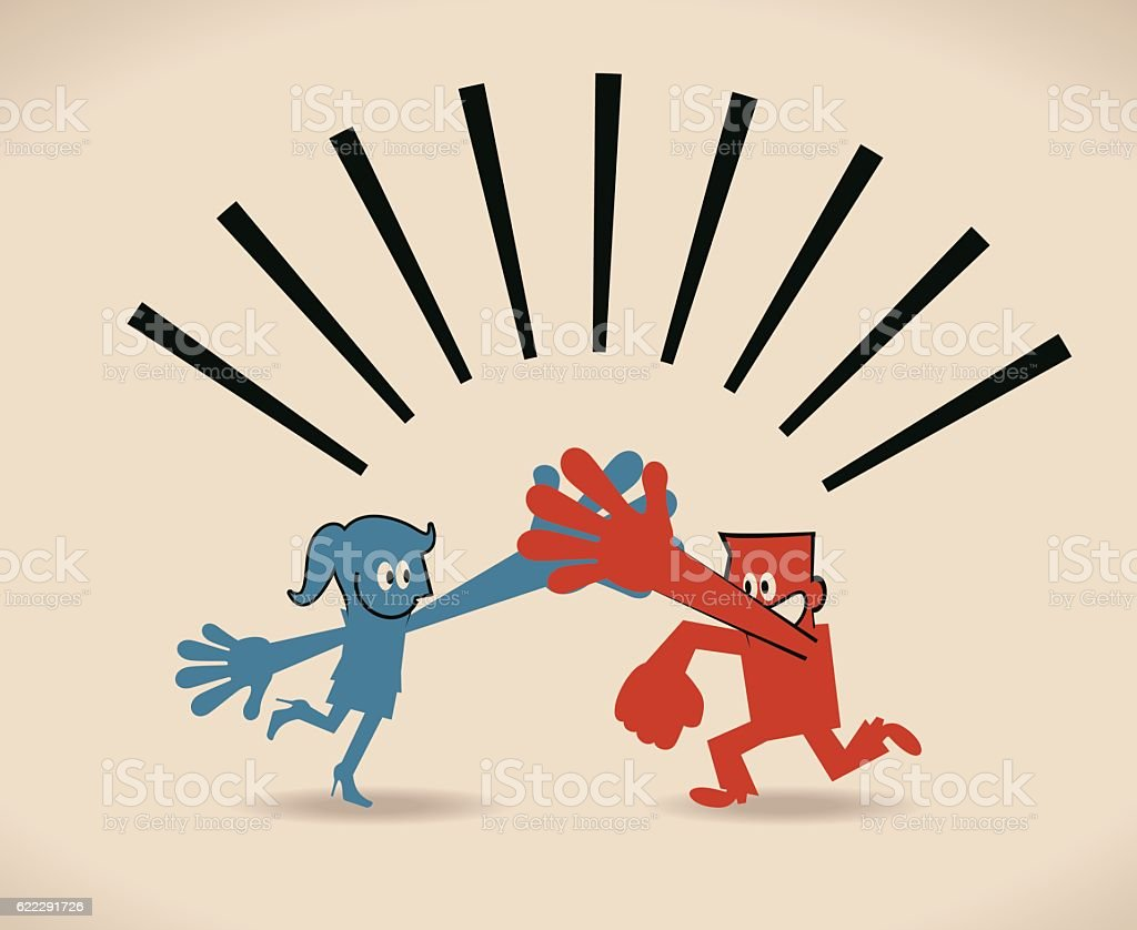 Give me five, Happy businessman and businesswoman giving high fives vector art illustration