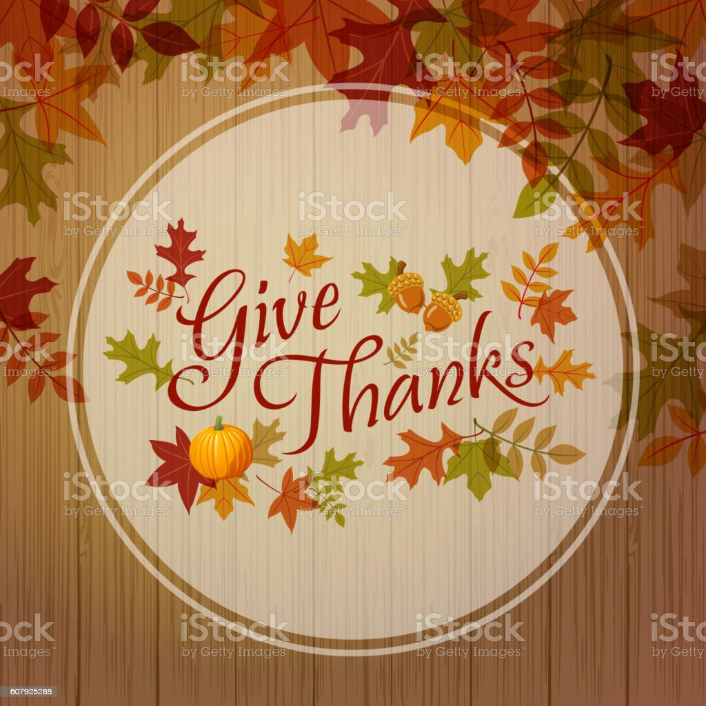 Give Thanks Place Card vector art illustration