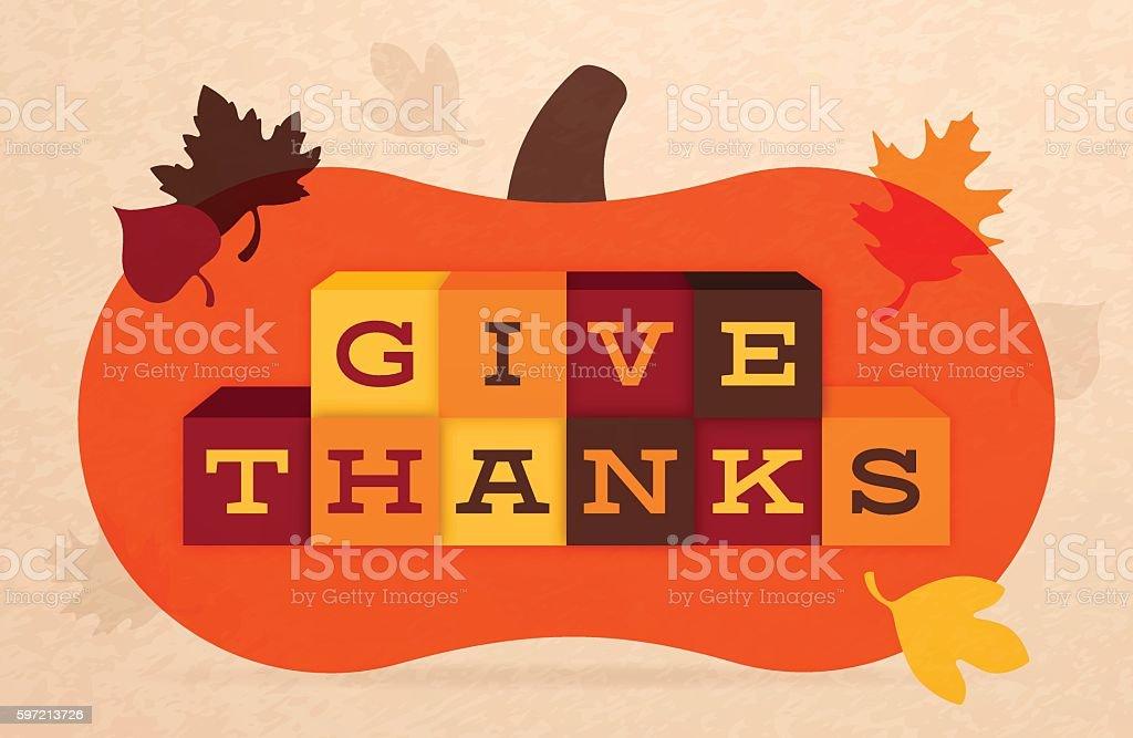 Give Thanks Thanksgiving Autumn Illustration vector art illustration