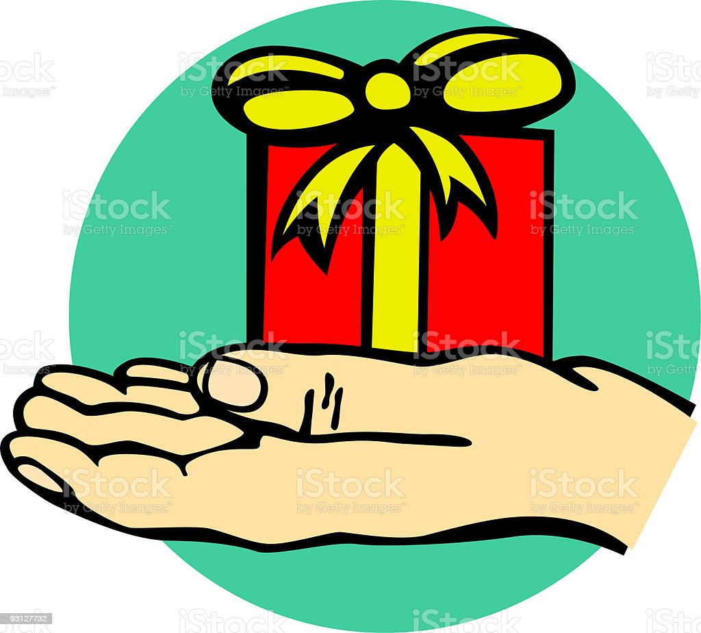 giving a gift royalty-free stock vector art