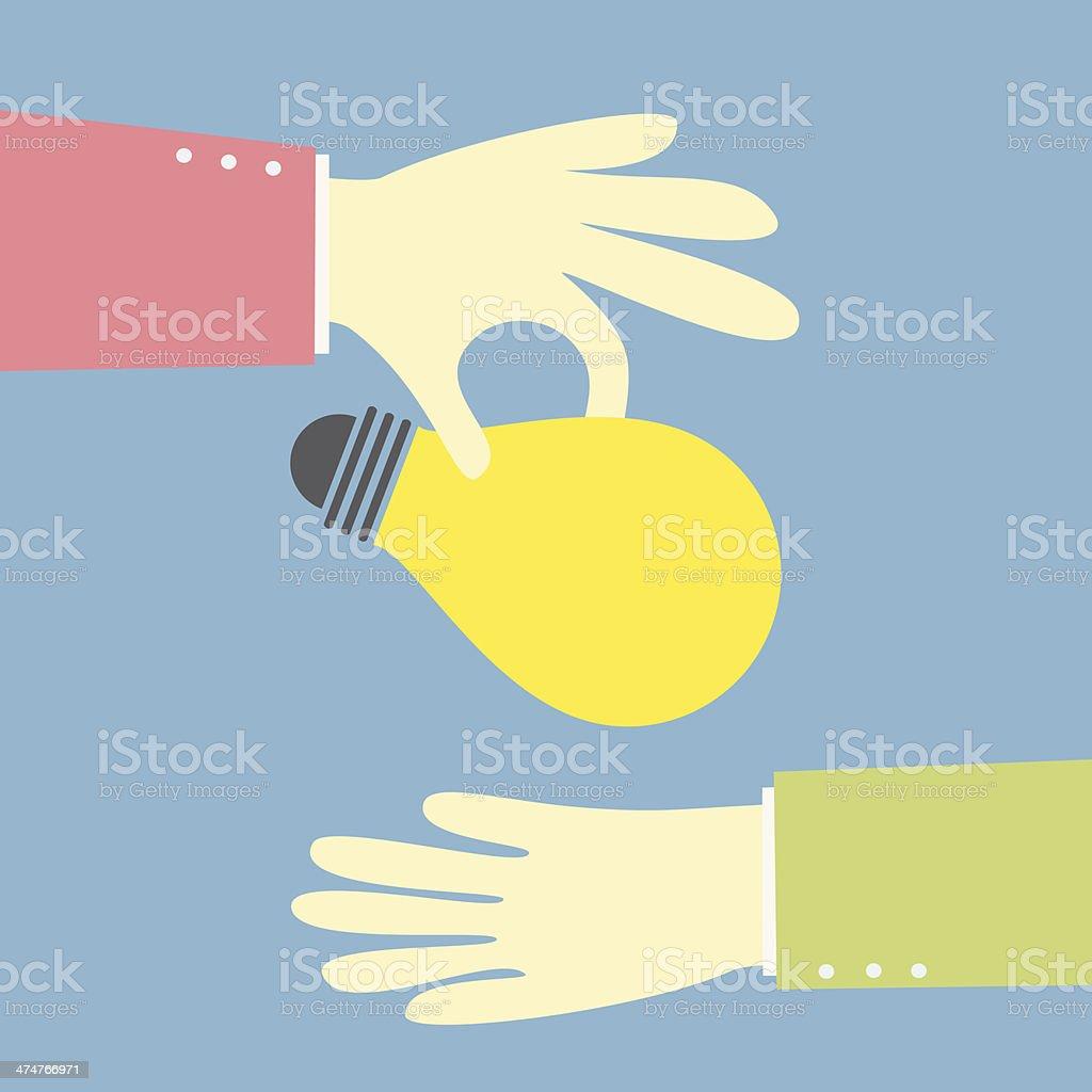 giving an idea bulb vector art illustration