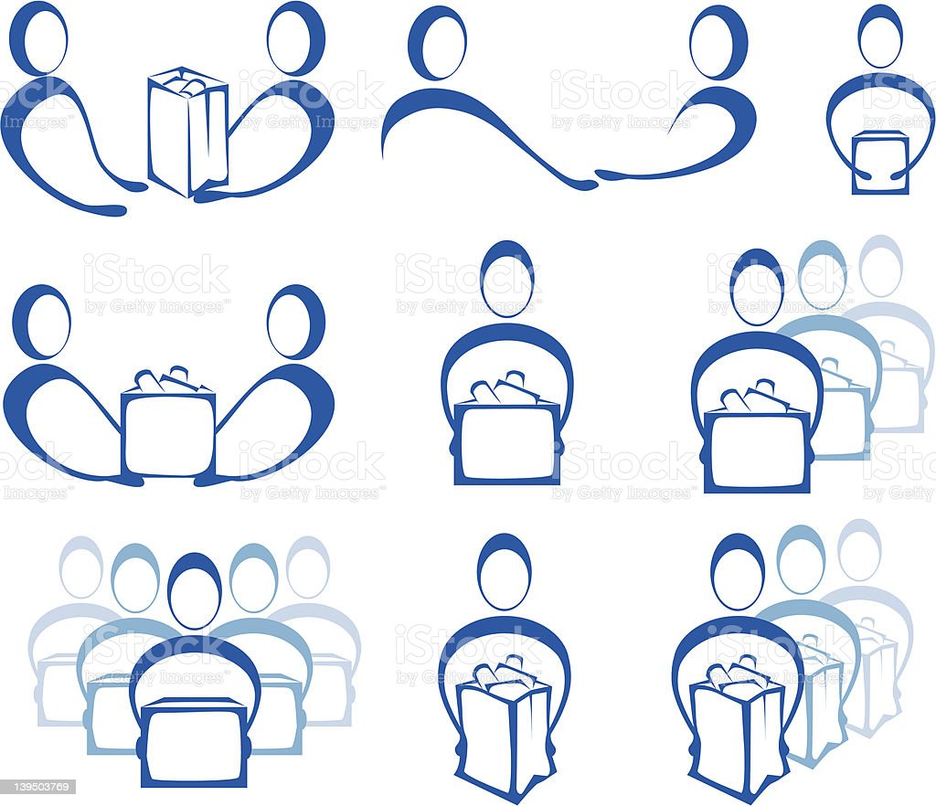 Giving and Receiving Icons royalty-free stock vector art