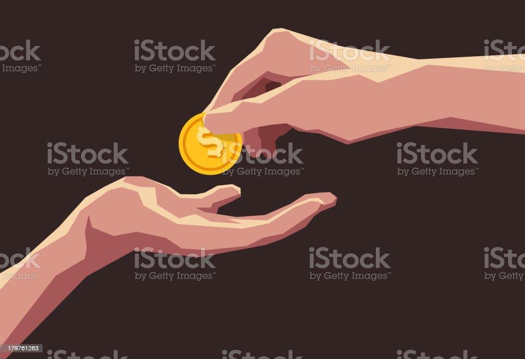 Giving money business transaction buying selling dollar coin vector art illustration