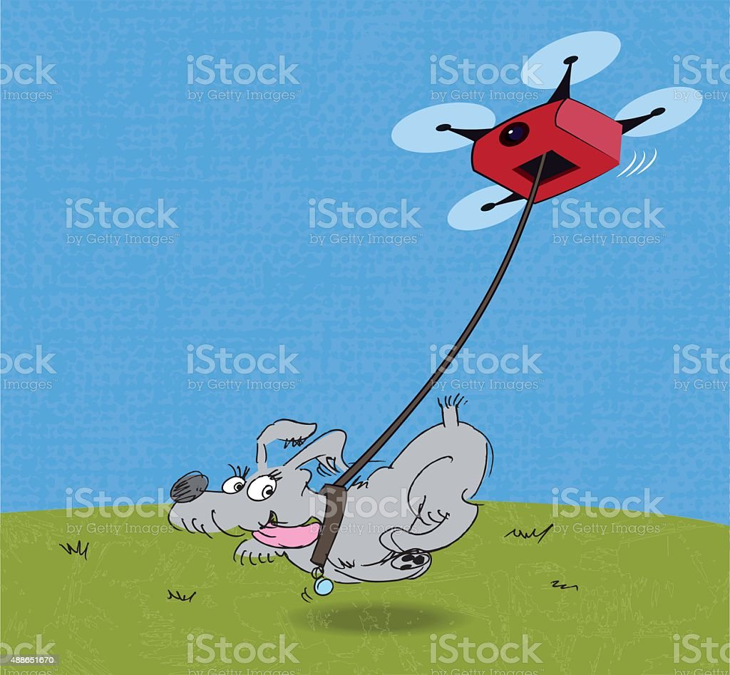 Giving the dog a drone vector art illustration