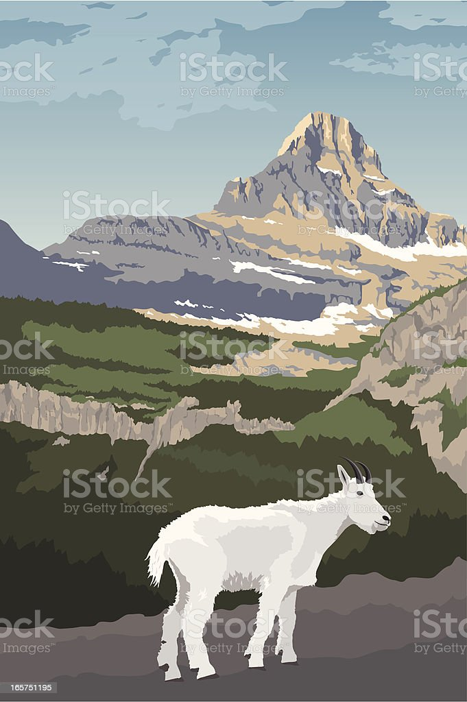 Glacier National Park with Mountain Goat vector art illustration