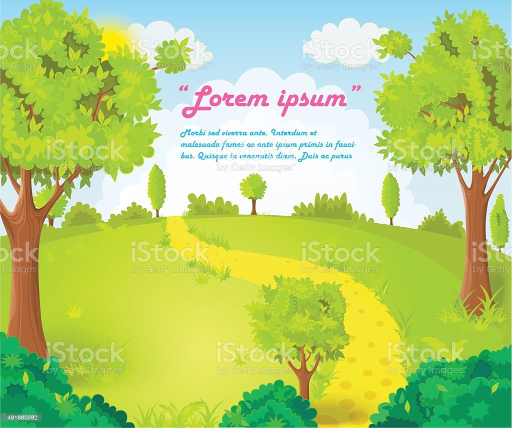 Glade in the middle of the park with the footpath vector illustration vector art illustration