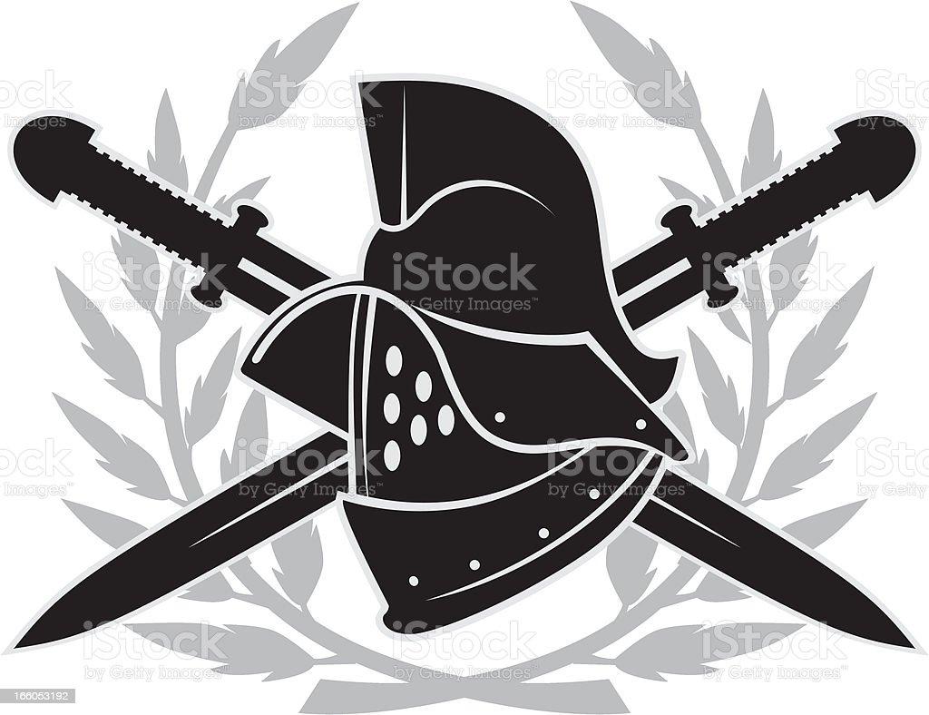 Gladiator helmet emblem vector art illustration
