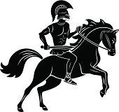 Gladiator on horse black and white icon
