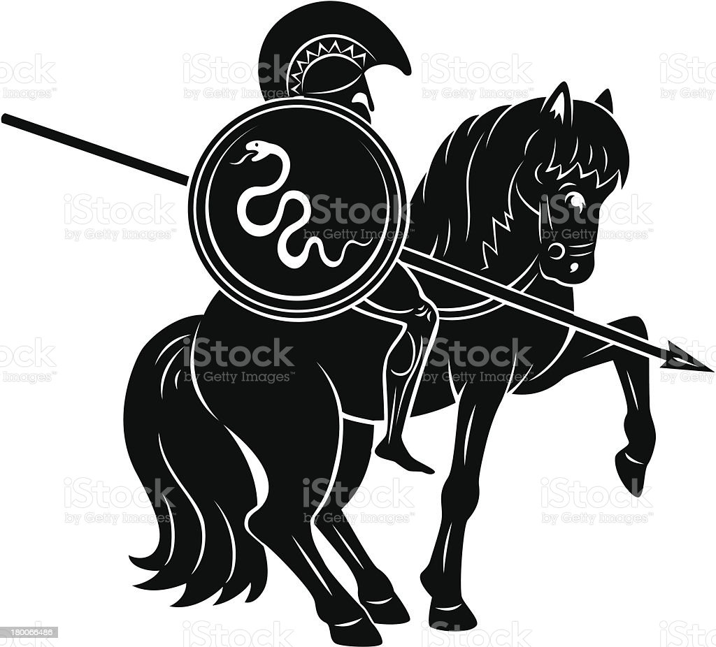 Gladiator with a snake shield on a horse royalty-free stock vector art