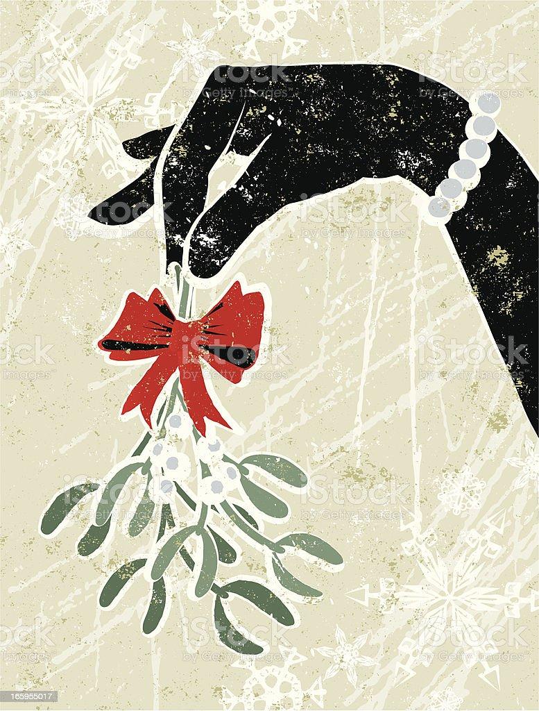 Glamorous Woman's Hand Holding a Sprig of Mistletoe vector art illustration