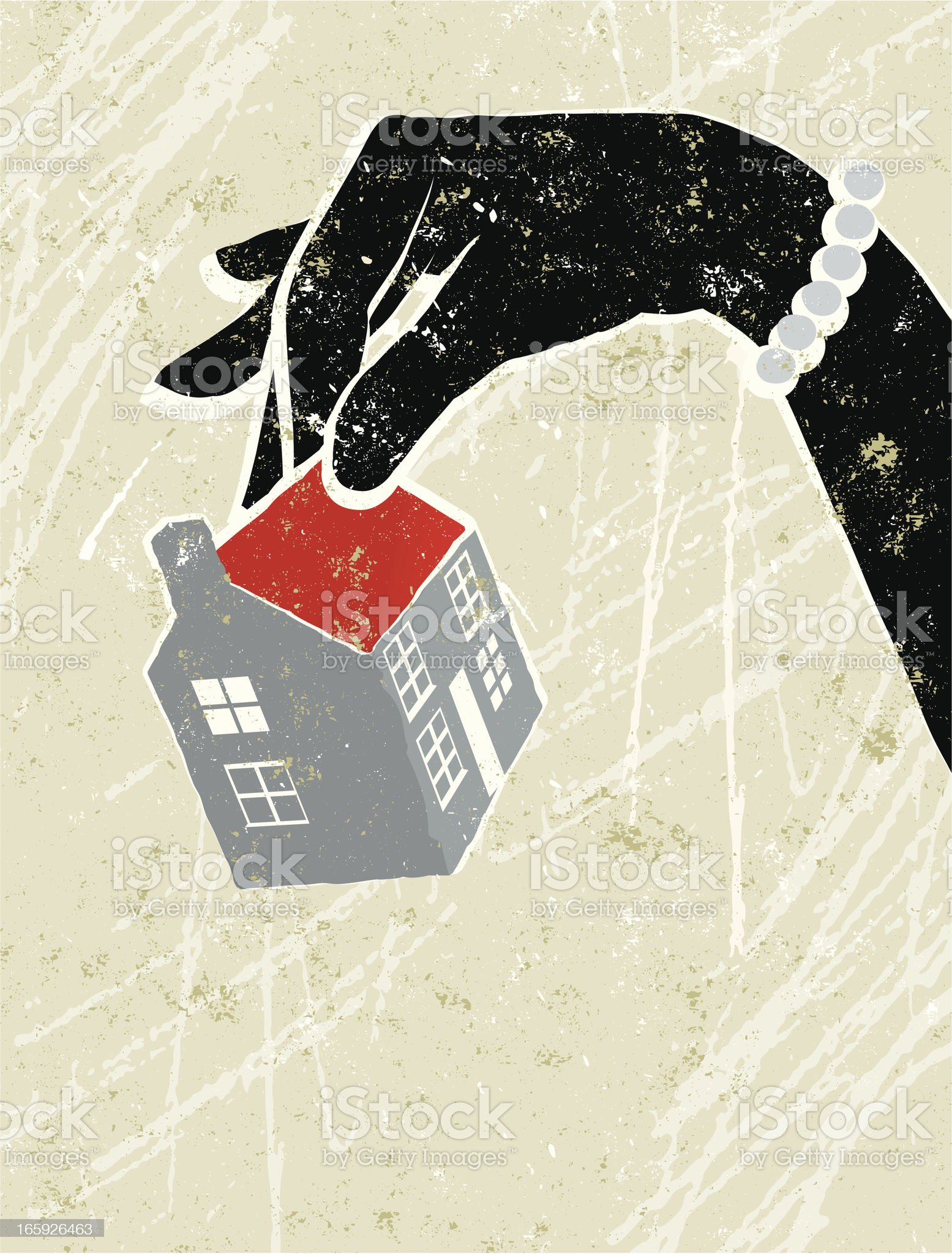 Glamorous Woman's Hand Holding a Tiny House royalty-free stock vector art