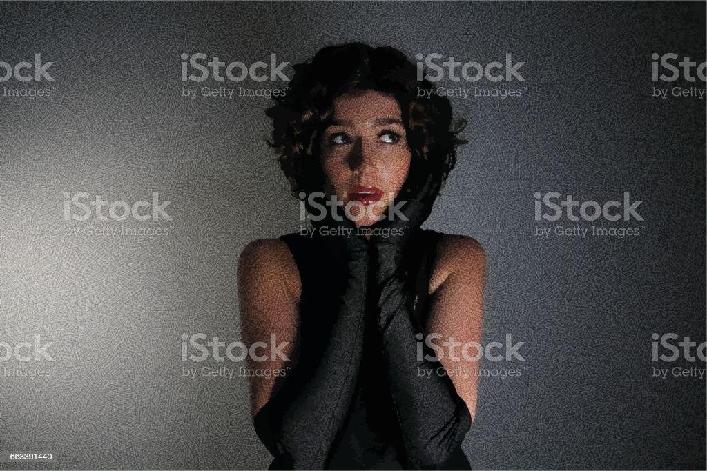 glamorous young woman with dark lighting vector art illustration